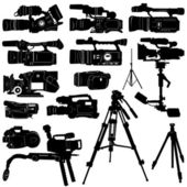 Camera and tripod set — Stock Vector