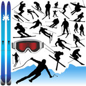 Collection of ski vector and equipments — Vettoriale Stock