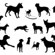 Dogs silhouettes — Stock Vector