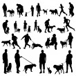 With dogs silhouettes — Stock Vector