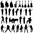 Collection of musician and music object - Imagen vectorial