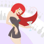Girl drinking alcohol — Stock Vector