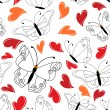 Heart and butterfly seamless pattern — 图库矢量图片