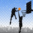 Basketball in the street — Stock Vector