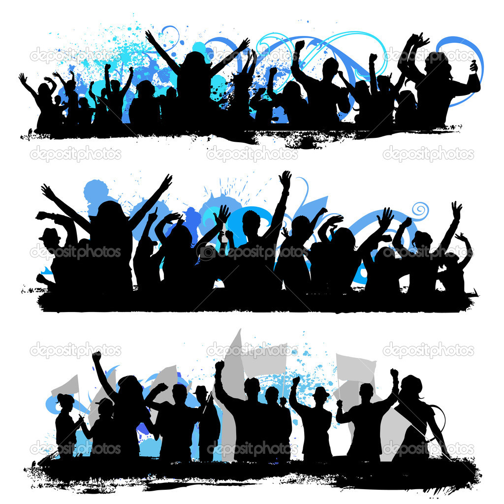 Crowd Silhouette Vector Crowd Silhouettes Set Vector