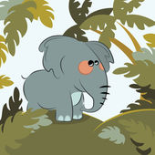 Elephant in the jungle — Stock Vector