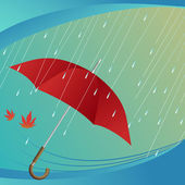 Umbrella leaf and rain — Stock Vector