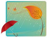 Parapluie et les leafs — Vecteur