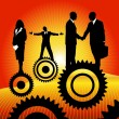 Business peoples on the cogwheel — Stock Vector