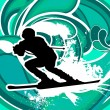 Stock Vector: Skier with blue background
