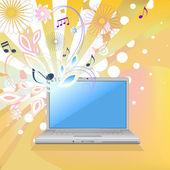 笔记本电脑与花艺设计 — 图库矢量图片