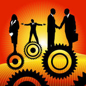 Business peoples on the cogwheel — Stock Vector