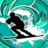 Skier with blue background — Stock Vector