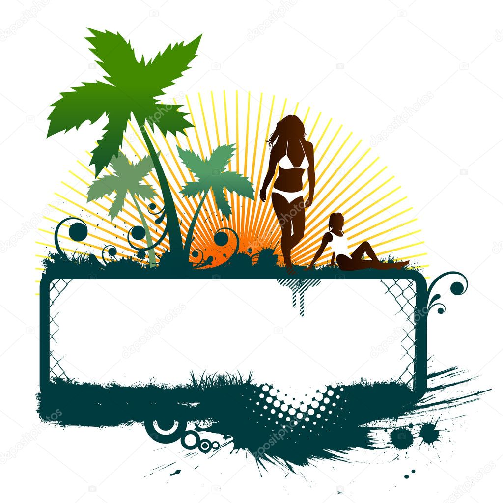 Girls on the beach vector — Stock Vector #9593101
