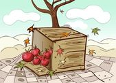 Box and tomatoes — Vecteur