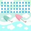 Rain and umbrella — Stock Vector