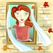 Girl and window — Stock Vector