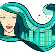 Girl hair and city — Stock Vector