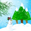 Snowman  and trees — Stock Vector