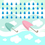 Rain and umbrella — Stockvector