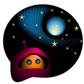 Cartoon alien and space — Stock Vector
