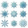 Snowflake icons set — Stock Vector