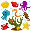 Cartoon sea creatures — Imagen vectorial