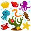 Cartoon sea creatures — Stockvectorbeeld
