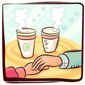Couple hand and coffee — Stock Vector