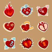 Divertidos iconos de corazón — Vector de stock