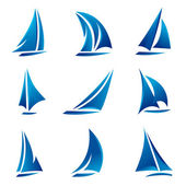 Sailboat symbol set — Stock Vector
