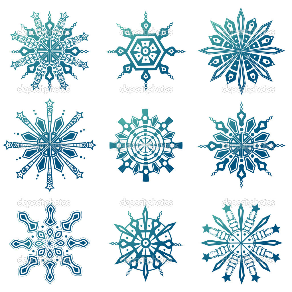 Snowflake icons set vector  Vettoriali Stock  #9981475