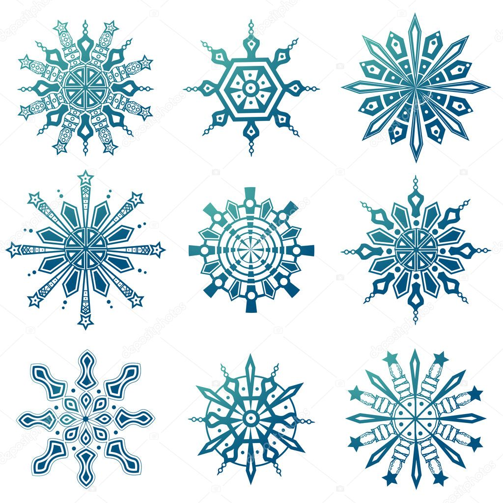 Snowflake icons set vector  Stockvectorbeeld #9981475
