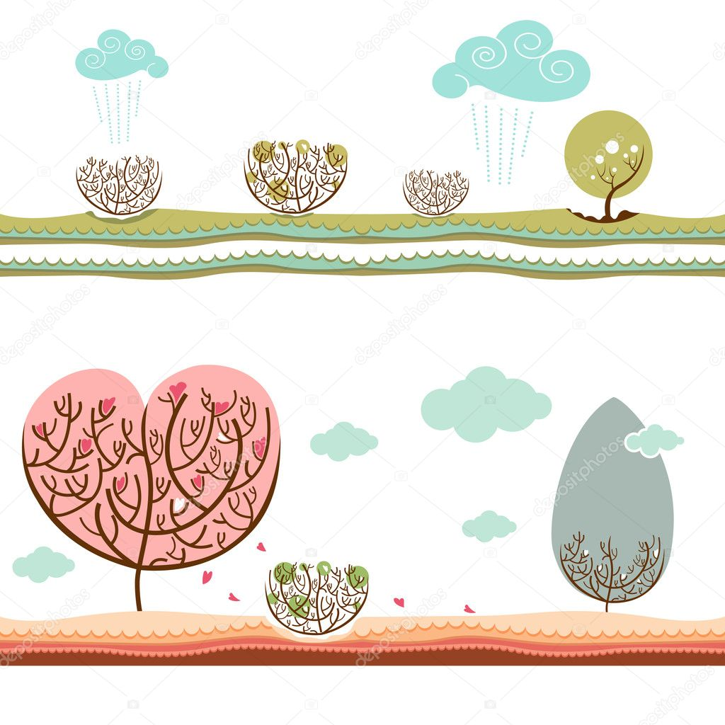 Winter and autumn vector  — Stock Vector #9981579