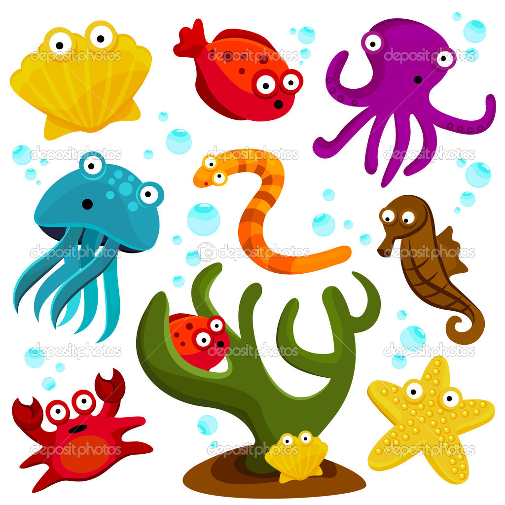 Sea Creatures Cartoon Cartoon Sea Creatures Set