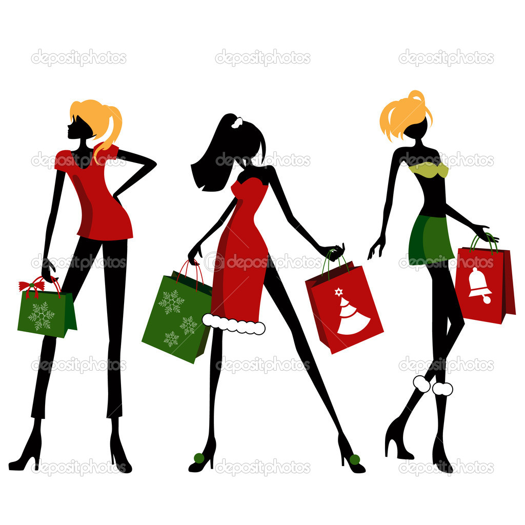 Christmas shopping woman vector — Stock Vector #9981746