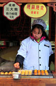 Chinese food seller — Stock Photo