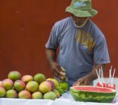 Colombian fruit seller — Stock Photo