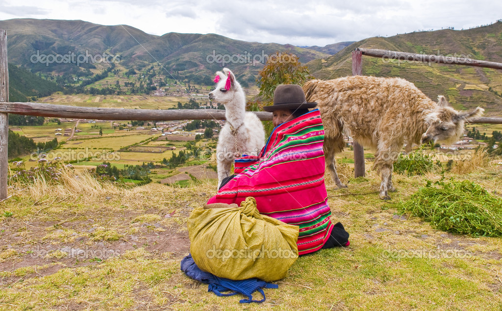 SACRED VALLEY,  PERU - MAY 27 2011 : Unidentified Peruvian woman in traditional colorful clothes seat with here alpacas near a village in the sacred valley  — Stock Photo #8745472