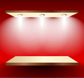 Shelf with lights on red wall — Stock Vector