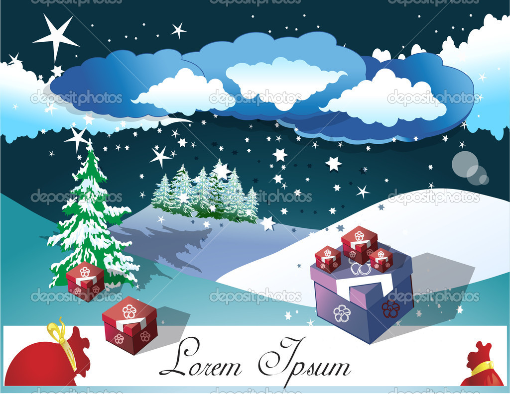 Christmas card design, for commercial print and web.  Stock Vector #8083519