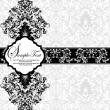 Vintage damask invitation card - Imagen vectorial