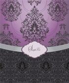 Purple vintage damask invitation cardr — Stock Vector