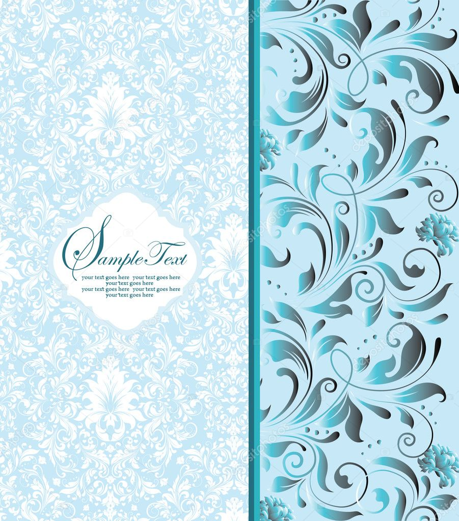 Vintage blue damask invitation with floral elements — Stock Vector #10165698