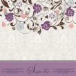 Purple  vintage damask invitation cardr - Imagen vectorial