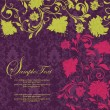 Purple  vintage damask invitation cardr - Stok Vektör