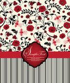 テキストの場所と抽象的な花カード — ストックベクタ