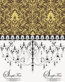 Vector vintage card design with chandelier — Stock Vector