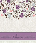 Purple vintage damask invitation cardr — Vector de stock