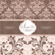 Pink vintage damask invitation card — Vector de stock #10660374